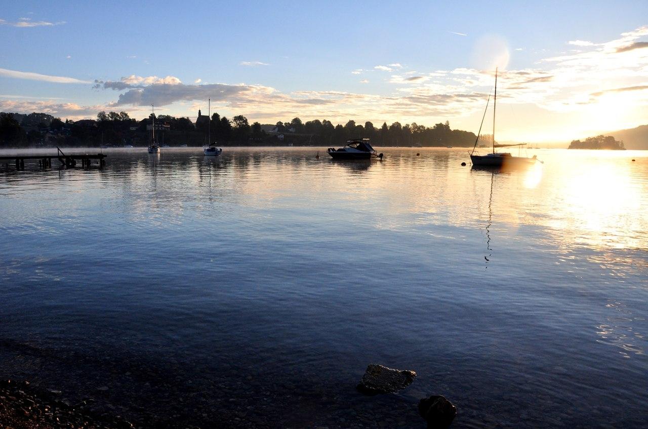 Утро на озере Аттерзее, Австрия - фото
