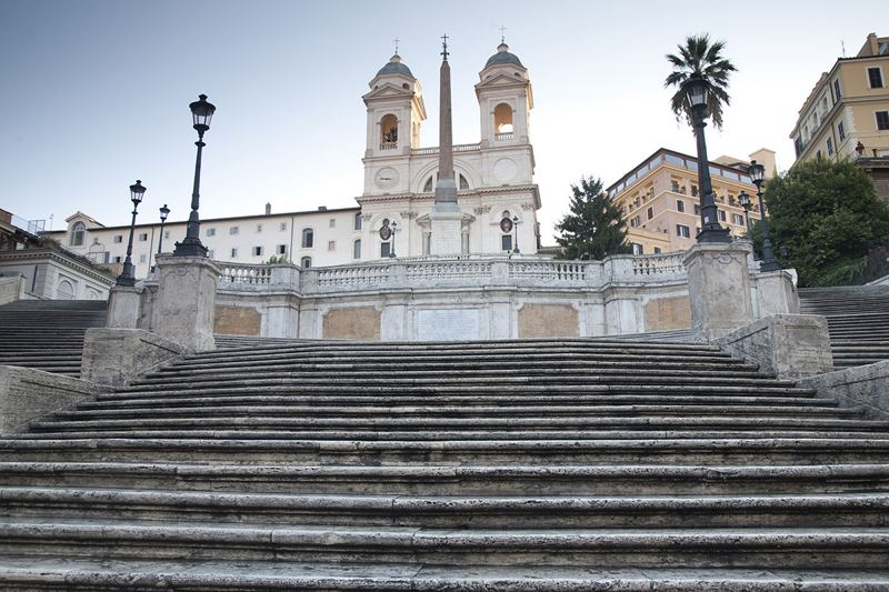 Spanish Steps in Rome, Italy at Dawn